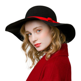 wide brimmed felt hat Australia - Winter Fashion New Vintage Women Ladies Floppy Wide Brim Wool Felt Fedora Elegant Cloche Hat Cap Female M43