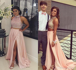 Back Two Piece Prom Dress Australia - HighHigh Neck Top Two Pieces Prom Dresses Crystal Beads Long Party Evening Gowns Hollow Back Side Split Plus Size Occasion Dres