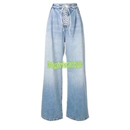 $enCountryForm.capitalKeyWord NZ - high end women girls strappy denim pant jeans vintage casual loose wide leg straight long pants top quality fashion design luxury trousers