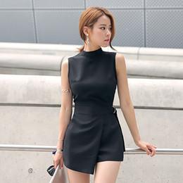 $enCountryForm.capitalKeyWord Australia - Elegant Belted Slim Playsuits Women Short Jumpsuit Stand Collar Sleeveless Irregular Lap Sexy Romper Overalls Brand New 2019 Y19051601