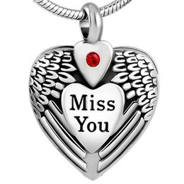 cremation necklaces for ashes Australia - KLH8469 Stainless Steel Miss You Heart Ash Pendant Urn Necklace Cremation Jewelry for Ash or Memorial