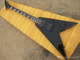 Flying v online shopping - Hot selling custom factory frets fly V black string power guitar with black shield can be made according to requirements real picture