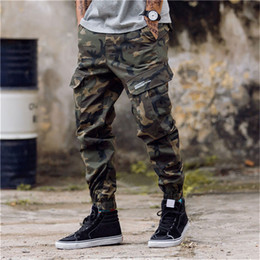 Wholesale army overalls men for sale - Group buy Fashion Mens Camouflage Jogging Pants Zipper Overalls Beam Foot Trousers Irregular Pants Hip Hop Mens Stylist Pants