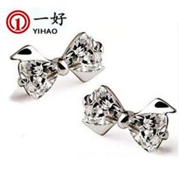 $enCountryForm.capitalKeyWord Australia - S925 sterling silver jewelry cute Bow Earrings diamond earrings earrings zircon female models