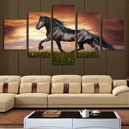 horse run painting Australia - 5pcs set Unframed Running Black Horse Animal Painting On Canvas Wall Art Painting Art Picture For Living Room Decor