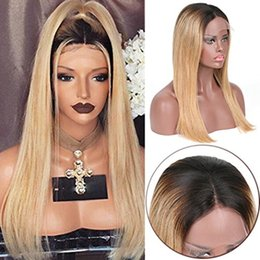 tone hair color lace fronts Australia - 100% Human Hair Full Lace Blonde Wig Ombre Color 1B 613 Two Tone Silky Straight Front Lace Wigs Dark Root With Baby Hair