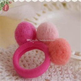 Wholesale Korea imports all handmade wool felt ball hair ring hair rope hair accessories for women girl children aa40