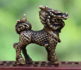 $enCountryForm.capitalKeyWord Australia - 4.5 CM China 100% Pure Bronze Dragon Foo Dog Lion Wealth Animal Amulet Sculpture kids toys small statue