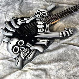 skull electric guitars UK - Custom 2020 electric guitar hand-carved skull guitar in black hardware with vibrato system accept customizable