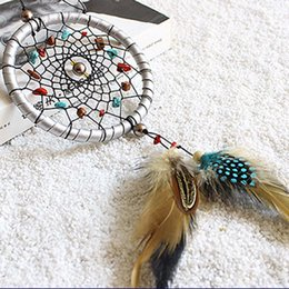 decoration for marriage NZ - Creative Silver Dream Catcher Feathers Core Bead Dreamcatcher Fashion for Wall Car Decoration Wedding Party Gift Arts and Crafts 10pcs