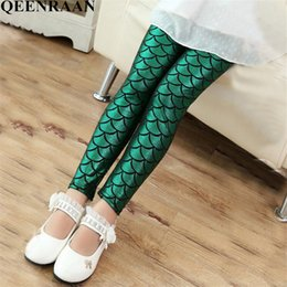 scale print leggings UK - 2019 Spring Summer Mermaid Leggings Girls Children Colorful Scale Printing Pants Baby Kids Slim Trousers For Childrens