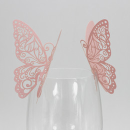 pink butterfly glasses Australia - 100PCS Butterfly Glass Name Card Decor Decals DIY Pink Iridescent Paper