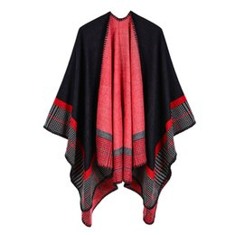 womens cashmere wraps NZ - Womens Striped Small Square Cashmere Acrylic Warm Air Conditioning Shawl Sunshade Sunscreen Cloak Travel Cloak