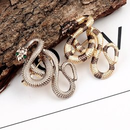 China Luxury Wholesale Jewelry Australia - Women Mens Snake Shape Luxury Brooch Designer Suit Lapel Pin Gift for Love Girlfriend Dress Suit Clothing Jewelry Accessories