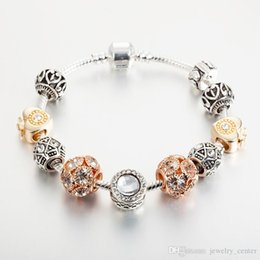 pandora silver rose gold plated bracelet NZ - 18K Rose Gold Plated Heart Charms European Beads Bracelet for Pandora 925 Silver Snake Chain Bracelets for Women wholesale