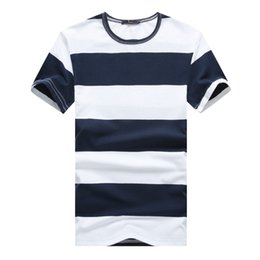 Wholesale Men s T shirt Summer New Leisure Large Size Striped T shirt Red Cyan Blue Black S XL Size Fashion Slim