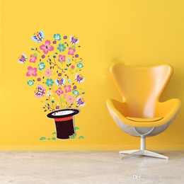 $enCountryForm.capitalKeyWord Australia - Spring home decor wall stickers for Kids Room Decor Sticker Cartoon Magic Hat Butterfly wallpapers decorative wall Stickers