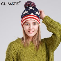 f5bc216e6bf CLIMATE Women USA Flag Hat Girl Winter Warm Beanie Pompon Knitted Hat  Beanie Women Cute Nice Pompon Warm For Girls