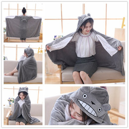 video free movies UK - New 145*70cm Plush Toy Stuffed Totoro Hung Out Blanket Air Conditioning Blanket Mantys Cape Coral Double Polar Free Shipment