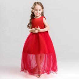 11e1680a4 Red Flowers UK - Fashion Appliques Flower Girl Dress Cute O-neck Princess  Ball Grown