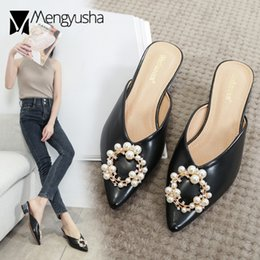 ring slides NZ - 2020Pearl Metal ring slippers pointed toe slip on mules women sandals shoes woman flipflop beads round med heel slides size34-43