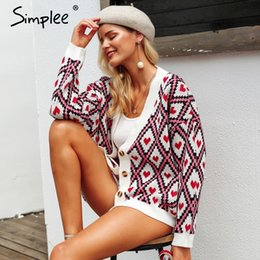 $enCountryForm.capitalKeyWord Australia - Simplee Heart Print Ladies Knitted Cardigan Female Casual Single Breasted Jumper 2018 Autumn Winter Oversized Women Sweater Tops Y190823