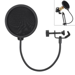 Mic pop screen online shopping - Black Double Layer Studio Microphone Pop Filter Flexible Wind Screen Mask Mic Shield for Speaking Recording Accessories PMP_50S