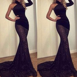 $enCountryForm.capitalKeyWord Australia - Black Mermaid Prom Dresses One Long Sleeve Lace See Through Evening Gowns South African Sweep Train Cocktail Party Dress Custom Made