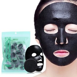 $enCountryForm.capitalKeyWord NZ - 30PCS Black Compressed Mask Disposable Facial Natural Bamboo Charcoal Black Mask Paper Skin Care Wrapped Masks DIY Beauty Makeup