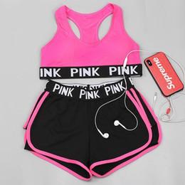 Short girlS yoga pantS online shopping - Newest Tracksuit girl Pink Yoga Suit Summer Sport Wear Cotton Fitness Bra Shorts Gym Top Pants Running Underwear Sets