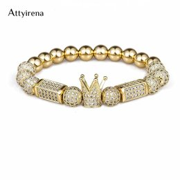 copper bracelets men Australia - 2018 Brand Trendy Imperial Crown Charm Bracelets 8mm Micro Pave Cz Round Bead Women Men Copper Jewelry Pulseras Mujer Bileklik J190703
