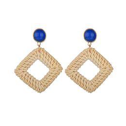 $enCountryForm.capitalKeyWord UK - 2019 New Handmade Wooden Straw Weave Rattan Vine Braid Geometric Square Long Drop Earrings For Women Christmas Gif E1788
