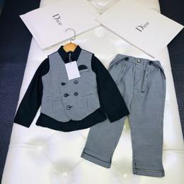 $enCountryForm.capitalKeyWord Australia - Boy straps sets kids designer clothes Thousand Birds vest + solid Color shirt + Thousand straps trousers 3pcs Autumn Cotton thin sets
