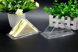 Wholesale Boxes Packaging Australia - 100 pcs Clear sandwich keep boxes Cake Bread packaging transparent storage Food Bakery Lunch keeper snack set