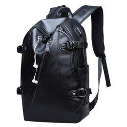 2019 Men Anti Theft Backpack With Headphone Plug Fashion PU Leather Laptop  Bagpacks For Boys Teens School Bags USB Rucksacks fbf9115e3a0e