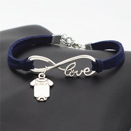 $enCountryForm.capitalKeyWord Australia - New Fashion Women Men Vintage Dark Navy Leather Suede Bracelet & Bangles Infinity Love Baby Short Sleeve Clothes T-shirt Romper Jewelry Gift