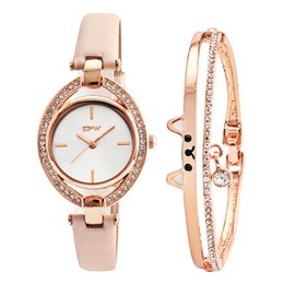 $enCountryForm.capitalKeyWord Australia - Top New Cut Cat Bangle With Fashion Lady Watch Cystal Shinny Style Japan Movement Rose Color Chain Bracelet Gift Set For Girls C19041202