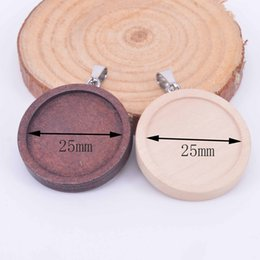 $enCountryForm.capitalKeyWord NZ - round wood cabochon jewelry setting dia 25mm blank wooden cameo base setting diy pendant trays for necklace jewelry making