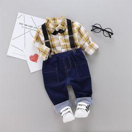 $enCountryForm.capitalKeyWord Australia - Spring Baby boy Clothing Sets 0-4Years Kids Gentleman Suit Fashion Long Sleeve Plaid Shirts+ Suspend Trousers=2PCS Set