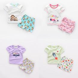 Wholesale Newborn Baby Clothing Summer Cartoon Short Sleeve T shirt pants set Jumpsuit Toddler Romper Cotton Multi Colors set