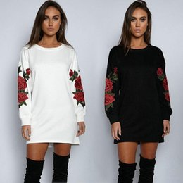 White Rose Pullover Australia - Womens Long Sleeve Hoodie Sweatshirt Jumper Hooded Pullover Tops Embroidery Floral Rose Autumn Winter Tops Black White