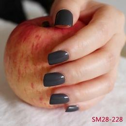 $enCountryForm.capitalKeyWord Australia - Candy Color Dark Gray Black Press On Short Full Cover False Nails 24 Pcs kit Square Manicure Accessories Fake Nails R28-228