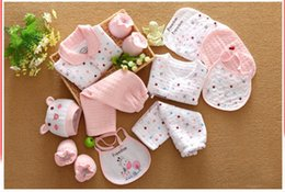 Wholesale 18 piece newborn baby set boy clothes cotton infant suit baby girl clothes outfits pants baby clothing hat bib ropa de bebe