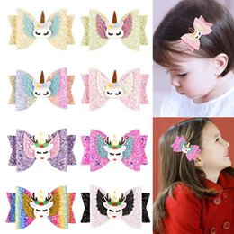 Baby Sequin Hair Clips Wholesale Australia - Cute Baby Unicorn Hairpin Fashion Cartoon Sequins Glitter Hair Clips Elk Rainbow Barrettes Child Bow Hair Accessories TTA926