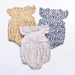 Sweet Girl Clothing Wholesale Australia - So Sweet Ins Baby girl clothes Floral Romper Jumpsuit Flutter sleeve Wildflowers 2019 Infant clothes 100%cotton Summer