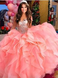$enCountryForm.capitalKeyWord Australia - Stunning Coral 2019 Quinceanera Prom dresses Ball Gown Ruffled Sweetheart Crystal Rhinestones Organza Evening Party Dress Gowns Cheap