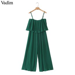 $enCountryForm.capitalKeyWord Australia - Vadim Women Chiffon Green Pleated Jumpsuits Elastic Waist Ruffles Sleeveless Backless Rompers Female Solid Chic Playsuits Ka615 MX190726
