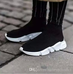 Discount name boots - 2018 Name Brand Unisex Casual Shoes Flat Fashion Socks Boots Woman New Slip-on Elastic Cloth Speed Trainer Runner Man Sh
