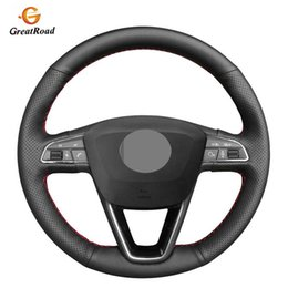 ibiza car Australia - Black Artificial Leather Car Steering Wheel Cover For Seat Leon 5F 3 2013-2019 Ibiza 6J Tarraco Arona Ateca Alhambra