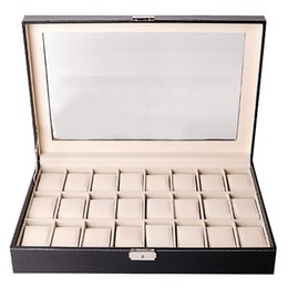 watch box black Australia - Watch Box Organizer Watch Case for Men Women Pu Leather 24 Slots for Display Storage Holder with Glass Top Lockable Black